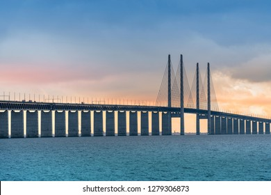 View of Oresund bridge during sunset over the Baltic sea