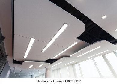 View of an original futuristic ceiling with lighting