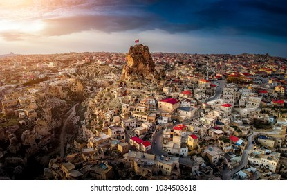 View of Ortahisar town old houses in rock formations from Ortahisar Castle. Cappadocia. Nevsehir Province. Turkey