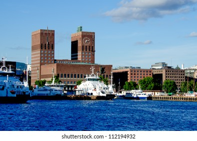 View of Oslo, Norway Radhuset (city hall) from the sea