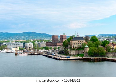 View of Oslo, Norway Radhuset (city hall) and Akershus castle from the sea