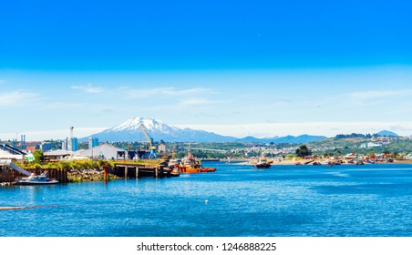 View of the Osorno volcano, Puerto Montt, Chile. Copy space for text