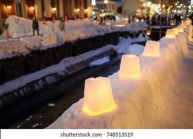 A view of Otaru canal with candle light on the snow, Otaru snow light path in Japan.