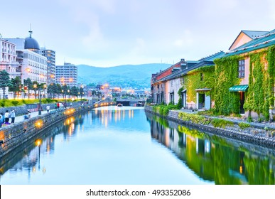View of the Otaru Canal at dusk in Otaru, Hokkaido, Japan