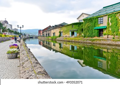 View of the Otaru Canal in summer in Otaru, Hokkaido, Japan