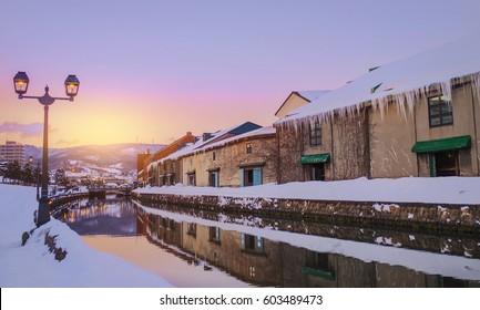 View of Otaru Canal in Winter season with Sunset, Hokkaido - Japan.