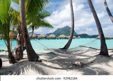 View of the Otemanu mountain ,  the palms with hammock and the lagoon , Bora Bora , French Polynesia , South Pacific ocean
