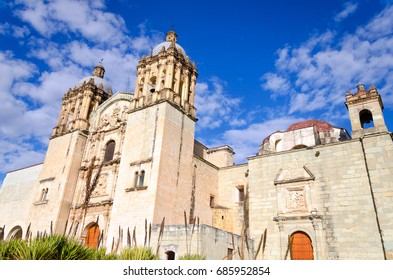 View of  Our Lady of the Assumption Church with blue sky in Oaxaca, Mexico