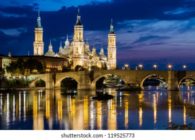 View of Our Lady of the Pillar at twilight in Zaragoza, Aragon