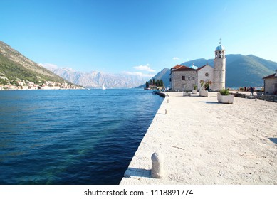 View of Our lady the rock island Panoramic view at kotor of Montenegro,UNESCO world heritage site