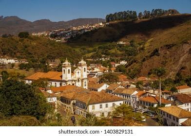 View of Ouro Preto city and Church of Our Lady of Pilar, Minas Gerais, Brazil