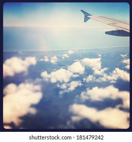 view out airplane window instagram effect