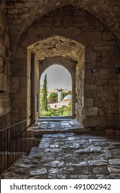 View out of the door of a Crusaders castle in jubail (Byblos) Lebanon
