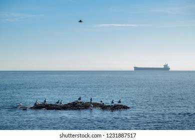 A view out onto the open ocean of the Georgia Strait of a gull rock and a tanker.