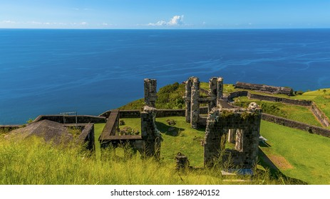 A view out to sea across the ruins of Brimstone Hill Fort in St Kitts