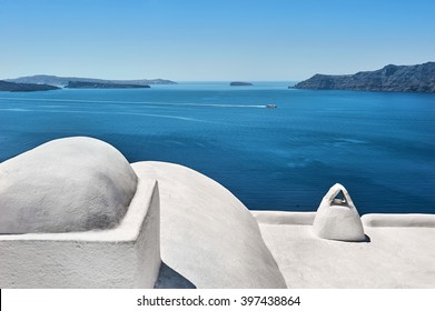 View out to sea over the white terrace of Santorini, Cyklades, Greece
