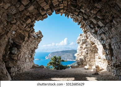 View out through the remains of Monolithos Castle on the Greek Island of Rhodes, Dodecanese, Greece