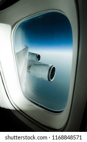 View out of the window onto the wing of a Jumbo Jet