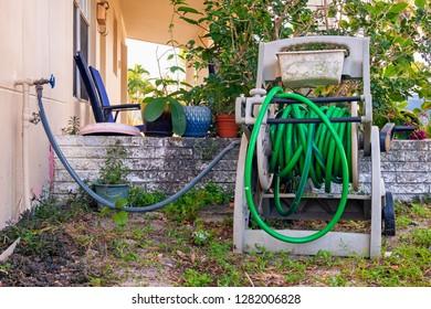 View of outdoor garden hose.