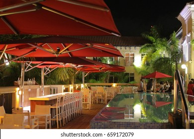 View of the Outdoor restaurant at Spanish Court Hotel in Kingston Jamaica taken on May 6, 2017