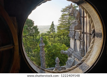 View Outer Balcony Curious Sculptures Different Stock Photo (Edit