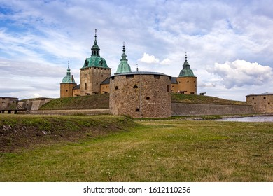 View of the outer front of the old castle in Kalmar, a town on the Swedish Baltic coast.