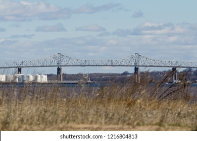 A view of the Outerbridge Crossing, which connects Perth Amboy, New Jersey and Staten Island, New York. Photo taken from South Amboy.