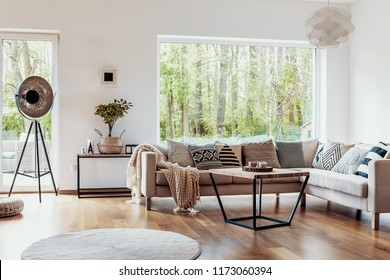 View outside to the green woods through large glass windows in a natural living room interior with beige sofa and dark hardwood floor