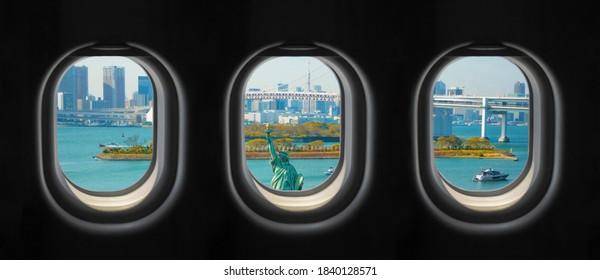 View outside the plane window. Odaiba City view, Japan outside the plane window.