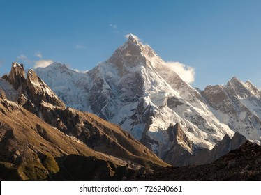 View of the outstanding Masherbrum Peak from Goro II camp site in the evening during K2 base camp trek,Skardu,Gilgit,Baltoro,Pakistan