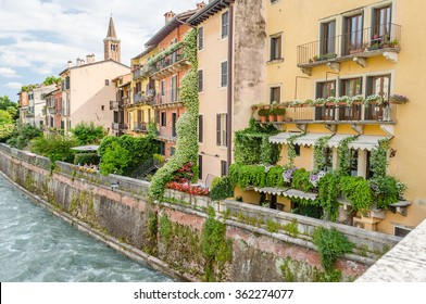 View Over Adige River in central Verona, Italy