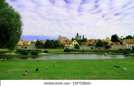 View over Almedalen, a park in Visby (Gotland, Sweden)