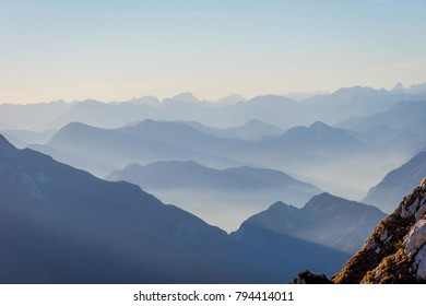View over Alps in autumn, Bivacco Dino bivouac above Udine, Italy