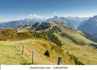 view over the alps in the zillertal in tyrol in autumn
