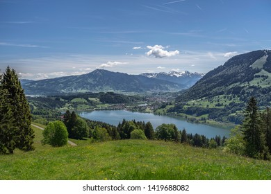 view over the Alpsee in the Allgau Alps near Immenstadt, Bavaria, Germany