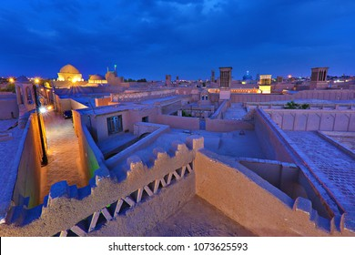 View over the ancient city of Yazd, at the twilight , in Iran.