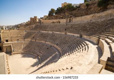 A view over the ancient Roman Theatre in Jordan's capital Amman