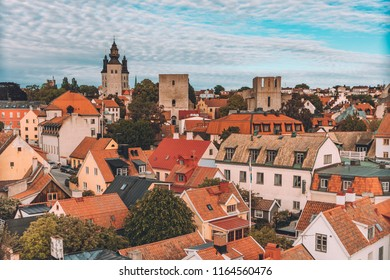 View over the ancient town center of Visby, the capital of Gotland, Sweden
