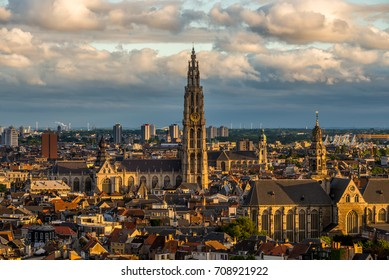 View over Antwerp, Belgium with cathedral of our lady