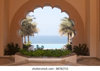 View over the Arabian Gulf from the six-star Shangri-la Al Husn hotel in Muscat, Oman