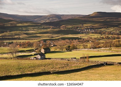 View over Askrigg towards Pen-y-Ghent in Yorkshire Dales National Park