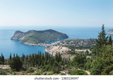 View over Assos peninsula and Assos castle in Kefalonia, Greece