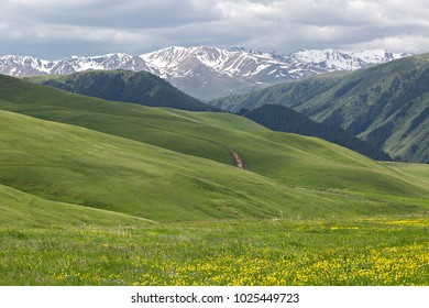 View over the Assy Plateau where the nomadic people go in the summer, near the city of Almaty, Kazakhstan.