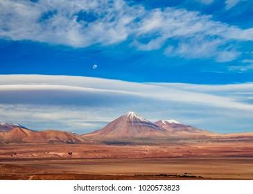 View over Atacama Desert towards the Volcano Licancabur, San Pedro de Atacama, Antofagasta Region, Chile