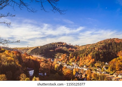 View over autumnal city of Hagen, Germany