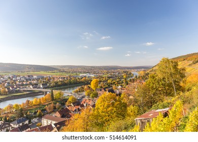 View over autumnal Klingenberg am Main / Germany