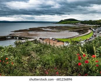 View over Avoch Harbor and Moray Firth, Avoch, Scotland