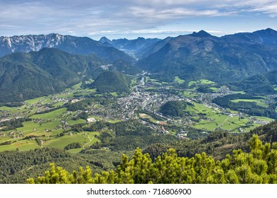 View over Bad Ischl and Traun Valley with Ebensee and the top of Traunstein in the background from Katrin Mountain
