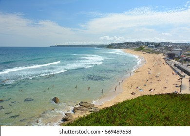View over Bar Beach in Newcastle, New South Wales, Australia.