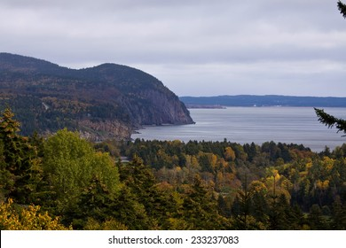View over Bay of Fundy looking towards town of Alma, Fundy National Park, New Brunswick, Canada
